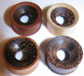 "Clearance coconut palm, crocodile, raintree, ebony, wood ear tunnels - 20mm or 13/16"" organic gauges or spacers"