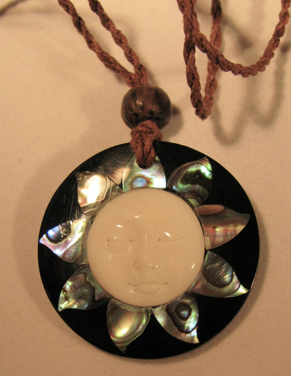 Bone Abalone And Resin Pendant Indonesian Moon Face Hand Carved Necklace Avaia Artistic Jewelry