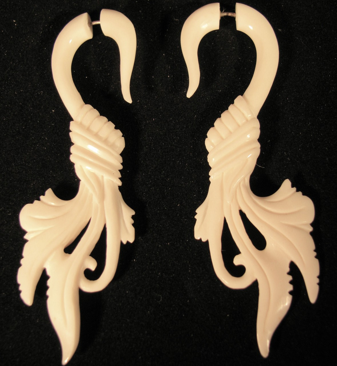 Summer Breezes Faux Or Fake Ear Gauges Organic Carved Bone Earrings Avaia Artistic Jewelry
