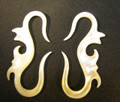 Mother of pearl, shell hanging Seahorses 6g gauge ear plugs