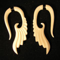 Salvation faux or fake ear gauges - organic, carved, bone earrings