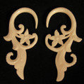 Summer Escape hanging, bone, ear gauges - 6g - 2g hand carved, spiral earrings