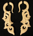 Beach Break hanging faux ear gauges - organic bone, carved fake plug style earrings