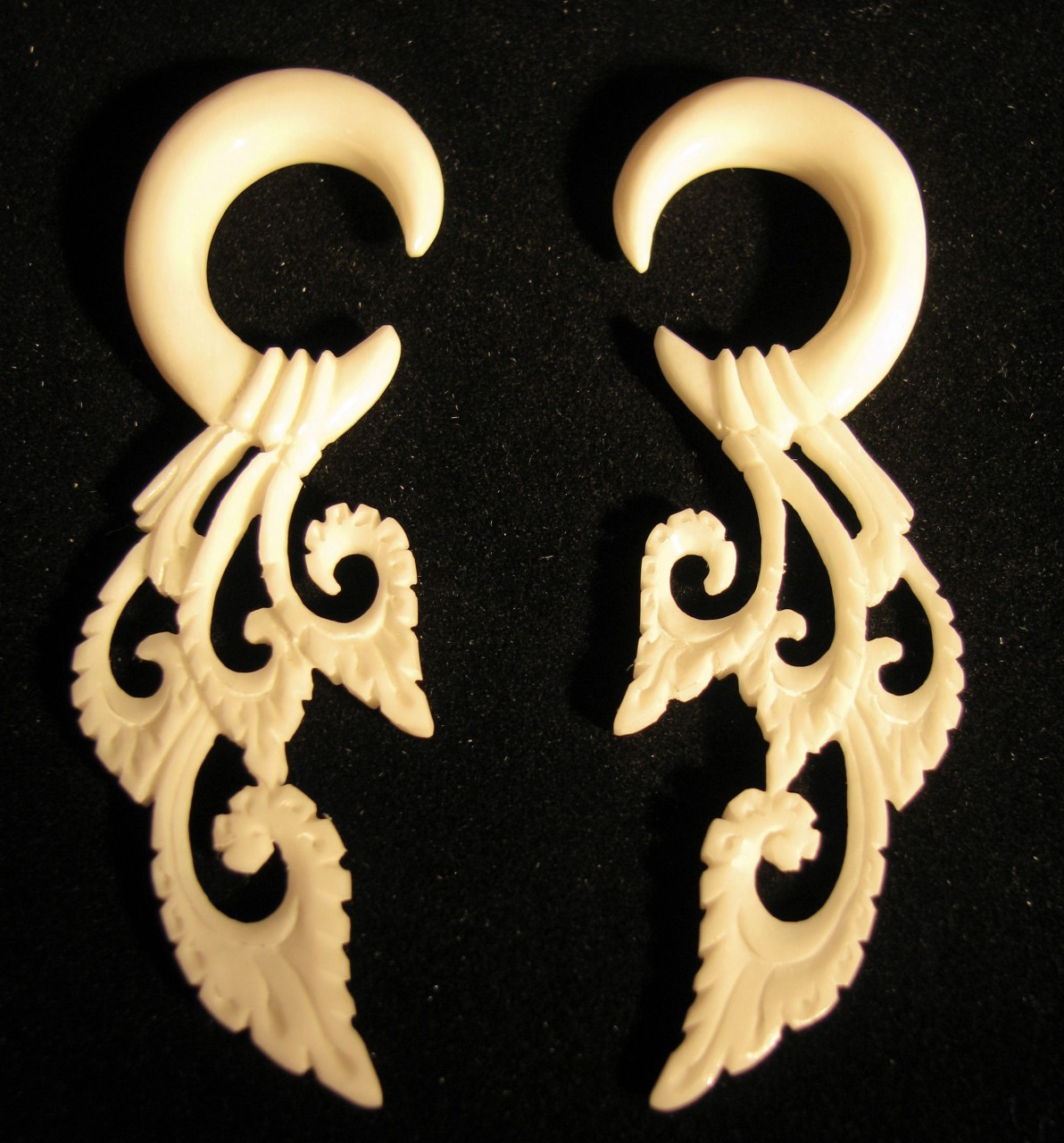 Lacey Bone Hanging Ear Gauges 2g Or 6mm Carved Lace