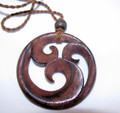 Areng wood carved Tsunami necklace - organic Indonesian pendant