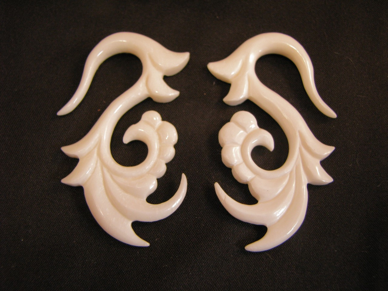 Jasmine Hand Carved Bone Hanging Ear Gauges 12g 0g White Spiral Earrings For Stretched Piercings Avaia Artistic Jewelry