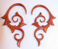 "Eros red sabo wood, hand carved, hanging ear gauges - 12g - 1/2"" spiral plugs for stretched piercings"