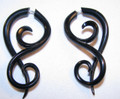 Justice black horn faux ear gauges - spiral fake expanders - cheater plugs earrings