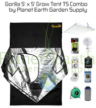 5' x 5' Gorilla Grow Tent 648W T5 Combo Package #1 (GGT55T5C1) UPC:4646003856075