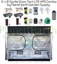 4' x 8' Gorilla Grow Tent LITE Kit 2000W HPS Combo Package #1 (GGTLT48HPSC1) UPC 4646003856211