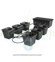 SuperCloset 6-Site Bubble Flow Buckets Hydroponic Grow System (SC6BFB) UPC 739027575115