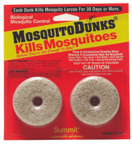 Kills Mosquitoes before They're Old Enough to Bite!® The Mosquito Dunks® are America's best selling home owner mosquito control product. The only product with BTI, a bacteria toxic only to mosquito larvae, that lasts 30 days and treats 100 square feet of surface water.  Non-toxic to all other wildlife , pets, fish, and humans. Simply apply Mosquito Dunks® to any standing water, or water garden. Kills within hours lasts for 30 days or more. Labeled For Organic Gardening by the USEPA. Highly effective low impact product