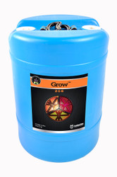 Grow (15 gallons) adds more nitrogen for plant growth.  Potassium to improve the plant's photosynthetic rate and energy transfer throughout the plant.