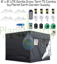 8' x 8' Gorilla Grow Tent LITE Kit 2592W T5 Combo Package #1 (GGTLT88T5C1)