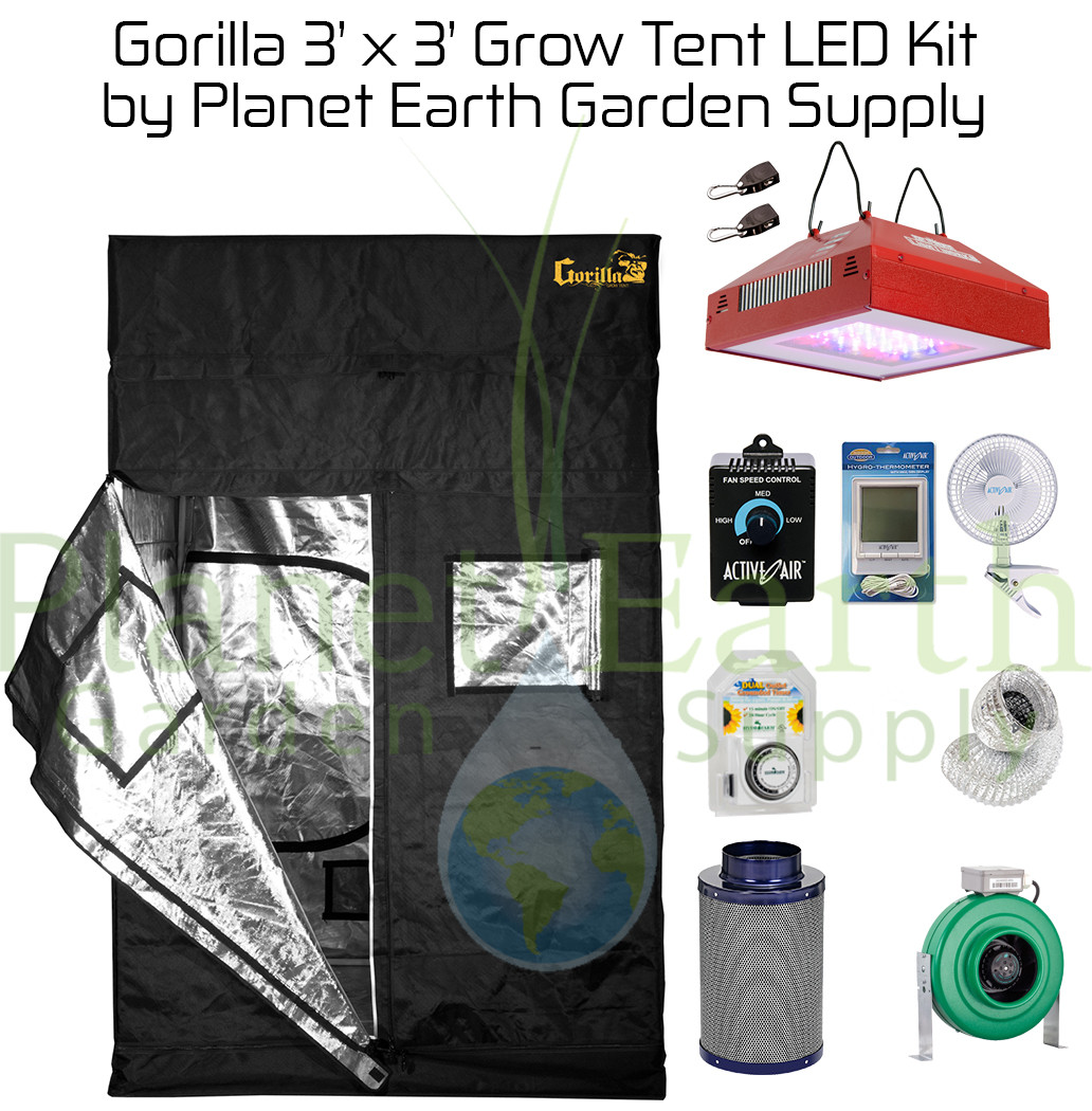 3u0027 x 3u0027 Gorilla Grow Tent Kit with LED and Hydroponic System (GGT33LEDHYDRO  sc 1 st  Planet Earth Garden Supply & 3u0027 x 3u0027 Custom Gorilla Grow Tent Kit with LED and Hydroponic System ...