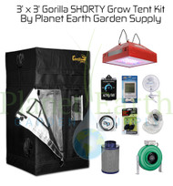 3' x 3' Custom SHORTY Gorilla Grow Tent Kit with LED and Hydroponic System (GGTSH33LEDHYDRO) UPC 4646003861413