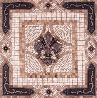 Metal Fleur De Lys Vienna Mosaic Tile Backsplash Medallion
