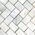 1 x 2 Marble Herringbone Tile in White Statuary polished