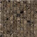 Dark emperador mosaic polished 1 x 1