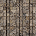 Dark emperador mosaic tumbled 1 x 1
