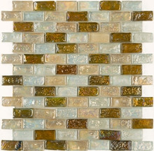 Mixed (pink, clear & brown) brick pattern glass, paper front