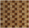 Noce travertine with butterscotch glass