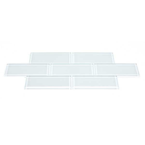 blue river 3x6 subway glass tile pure white