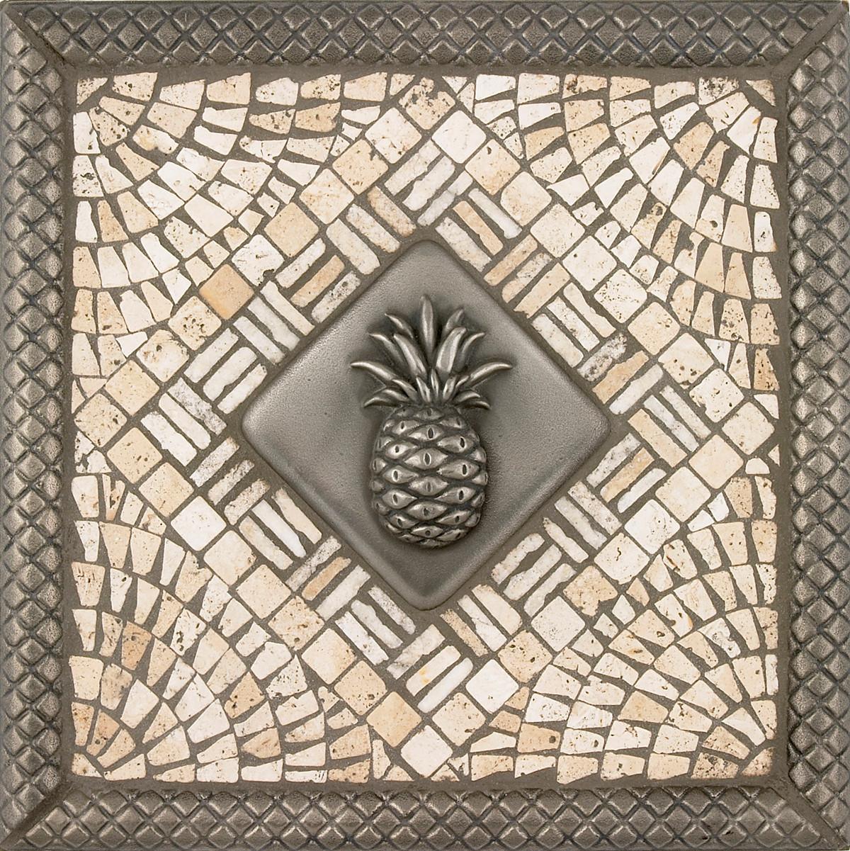 - Metal Pineapple Mosaic Tile Backsplash Medallion 12 Inches