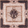 Fleur de Lys Vienna Mosaic Tile Backsplash Medallion