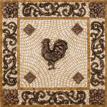 Metal Mural Rooster Mosaic Tile Backsplash Medallion 24 Inches