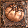 Metal decorative tile 4 x4 Tomato