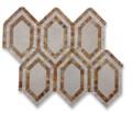 Soho Studio New Era Crema Marfil Long Hexagon with Golden Trav & Crema Marfil