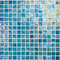 Kaleidoscopic  glass tile Blue Sea 1x1