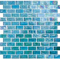 Kaleidoscopic glass tile Blue Sea 1x2