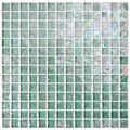 Kaleidoscopic  glass tile Light Green 1x1