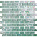 Kaleidoscopic glass tile Light Green 1x2