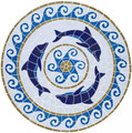 Dolphin medallion mosaic pool inlay 36 inches