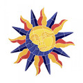 Sun and moon medallion mosaic pool inlay