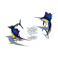 Sailfish pair with bait mosaic pool inlay small with shadow