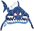 Shark face mosaic pool inlay