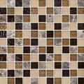 Emperador Rain Glass & Stone Mosaic 1x1