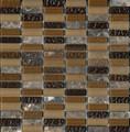 Emperador Rain Glass & Stone Straight Stack Mosaic