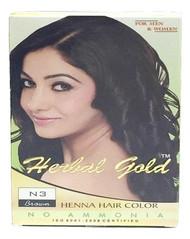 HERBAL GOLD Henna Hair Color N3 Brown 6 pouch packs/Box(HERBAL GOLD 植物染发剂 N3 褐色 6小包/盒)