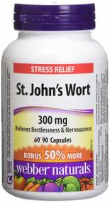 WEBBER NATURALS Stress Relief -St. John's Wort 300mg  90 Capsules(加拿大 WEBBER NATURALS 减压抑郁灵-圣约翰草 300mg 90粒入 )