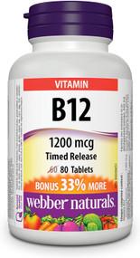 WEBBER NATURALS VITAMIN B12 Timed Release 1200mg  80 Tablets(加拿大 WEBBER NATURALS 维他命B12 长效型 1200mg 80粒入 )