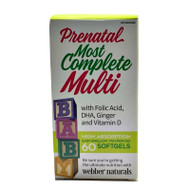 WEBBER NATURALS Prenatal Most Complete Multi-MultiVitamin & Mineral Supplement 60 Softgels(加拿大 WEBBER NATURALS 孕妇宝   60粒入 )