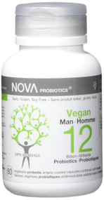 NOVA PROBIOTICS Vegan MAN 12 Billion Probiotics per Capsule -60 VCaps(加拿大 NOVA PROBIOTICS 素食-男性120億益生菌-60粒入)