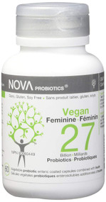 NOVA PROBIOTICS Vegan FEMININE 27 Billion Probiotics per Capsule -60 VCaps(加拿大 NOVA PROBIOTICS 素食-女性270億益生菌-60粒入)