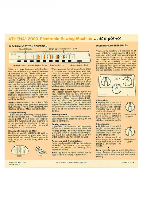 Singer Singer Athena 2000 instruction manual Sewing Machine