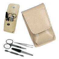 Kingsley Manicure Set - 4 Piece, Leather with Flap Closure Tan